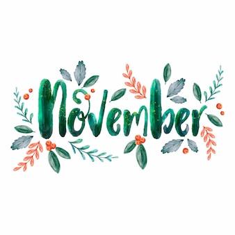 Watercolor november lettering