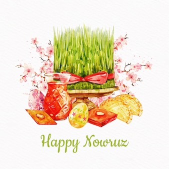 Watercolor nowruz event illustration