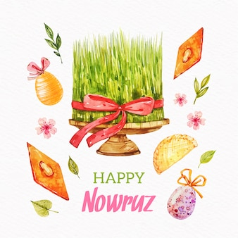Watercolor nowruz illustration event