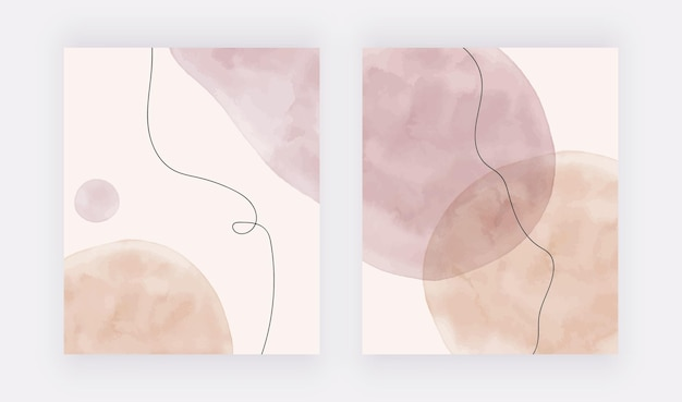 黒い線の背景を持つ水彩画のヌードとピンクのブラシストロークの形
