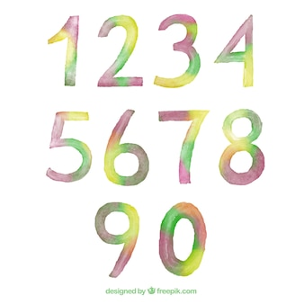 수채화 숫자 모음