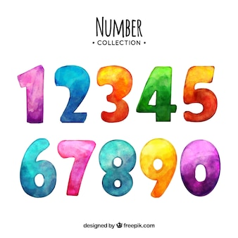 Watercolor number collection