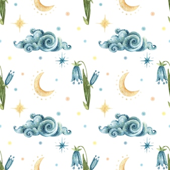 Watercolor occult seamless pattern. illustration of blue flowers bluebells, cloud, moon, night stars.