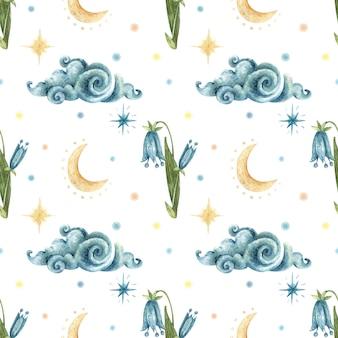 水彩のオカルトシームレスパターン。青い花ブルーベル、雲、月、夜の星のイラスト。