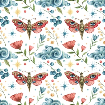 水彩のオカルトシームレスパターン。蝶の女の子、花、枝、葉、果実、月、雲、夜の星のイラスト