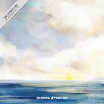 Watercolor ocean background
