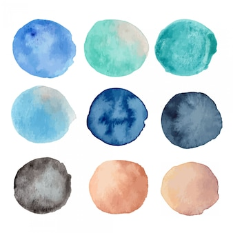 Watercolor ocean sea texture background illustration set