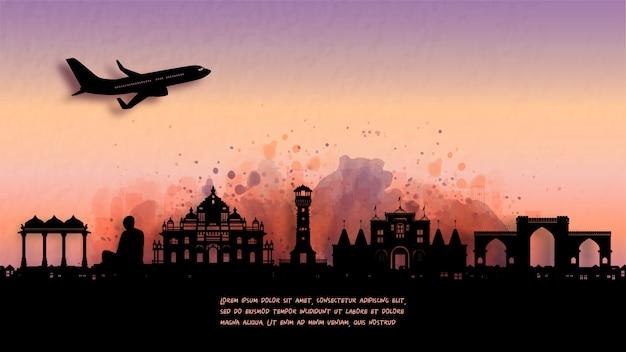 水彩画のアーメダバード、インドのシルエットのスカイラインと有名なランドマーク。