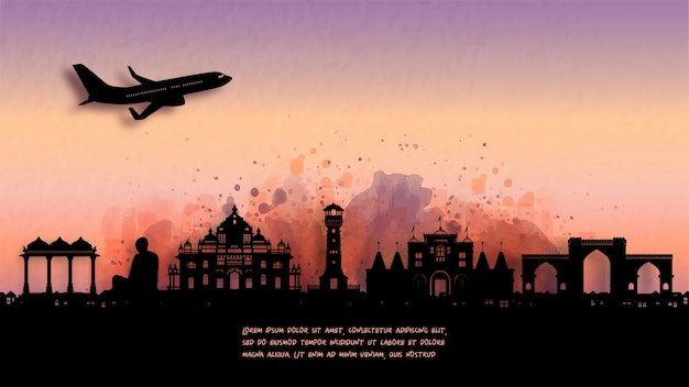 Ahmedabad, 인도 실루엣 스카이 라인 및 유명한 랜드 마크의 수채화