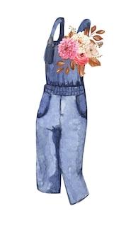 秋の暖かい婦人服の水彩画