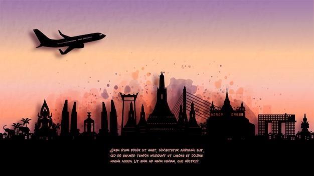 バンコク、タイのシルエットのスカイラインと有名なランドマークの水彩画。