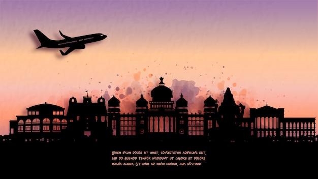 バンガロール、インドのシルエットのスカイラインと有名なランドマークの水彩画。 。