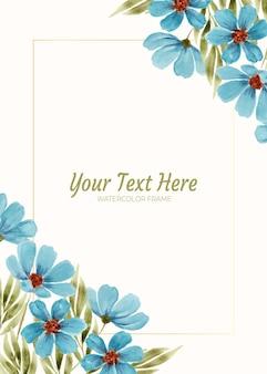 배경 프레임으로 블루 코스모스 꽃의 수채화