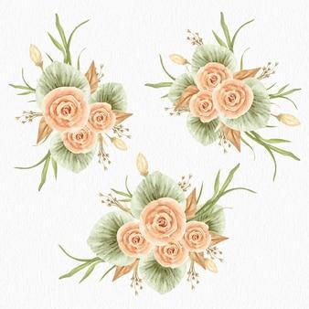 花束の花セットの水彩画