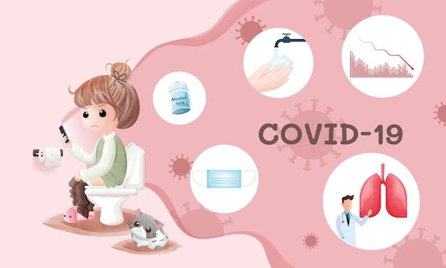 Акварель милая девушка сидит и читает новости о вспышке covid-19 в ванной комнате.