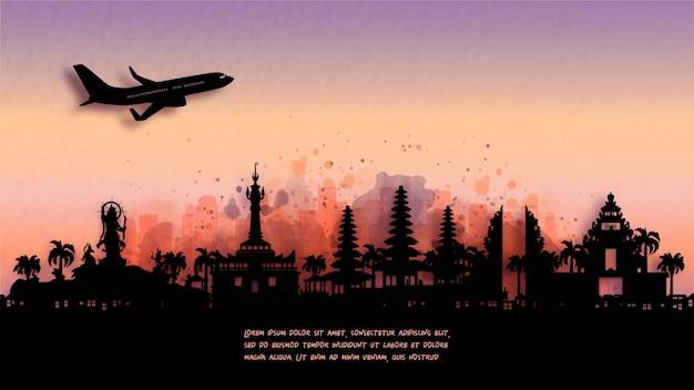 バリ島デンパサールの水彩画。インドネシアのシルエットのスカイラインと有名なランドマーク。図。