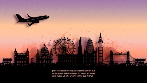 ロンドン、イギリスのシルエットのスカイラインと有名なランドマークの水彩画。図。
