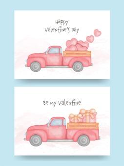마음과 선물 상자와 픽업 트럭의 수채화. 발렌타인 데이