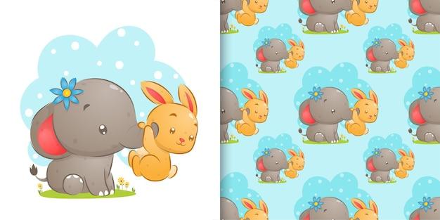象のトランクのイラストを保持しているウサギのシームレスなパターンの水彩画