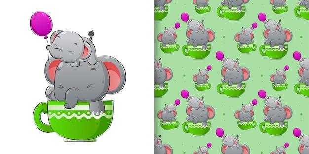 風船で遊ぶ象の水彩画パターンセットイラスト