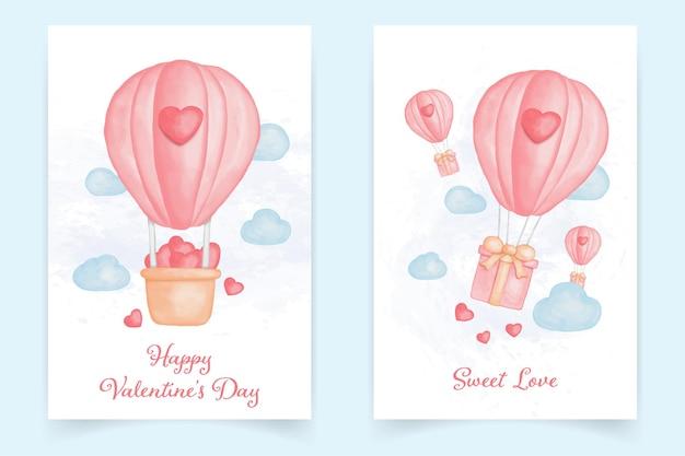 気球とバレンタインデーカードの水彩画