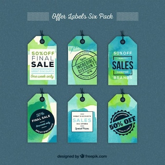 Watercolor offer labels pack Free Vector