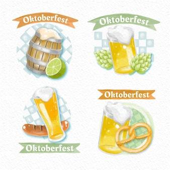 Watercolor oktoberfest labels collection