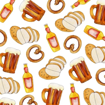 Watercolor oktoberfest pattern background