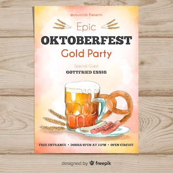 Watercolor oktoberfest poster template