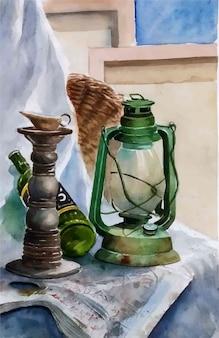 水彩画の古いアンティークオイルランプとボトルの手描きイラスト