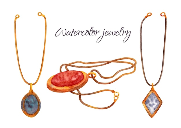 Watercolor old jewelry set. vintage necklace with gold chain and precious stone