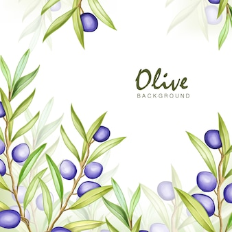 Watercolor olive frame multi-purpose background