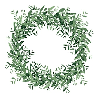 Watercolor olive wreath. isolated vector illustration on white background.
