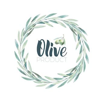 Акварельный оливковый венок. эскиз оливковой ветви на белом фоне. надпись на оливковом масле кистью.