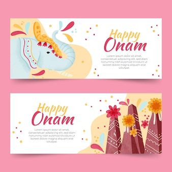 Watercolor onam banners concept