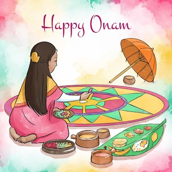 Watercolor onam festival concept