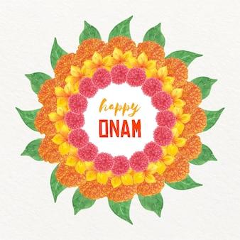 Watercolor onam floral decoration