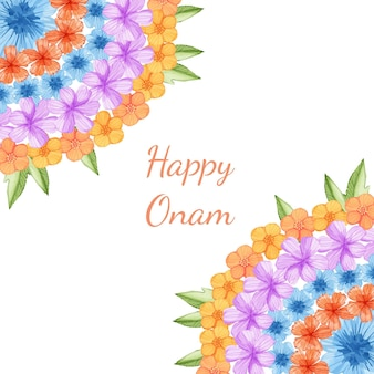 Watercolor onam floral decoration