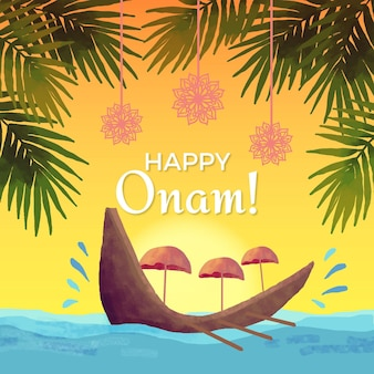 Watercolor onam illustration concept