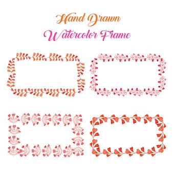 수채화 오렌지와 핑크 꽃 사각형 프레임