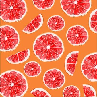 Акварель апельсин и красный грейпфрут бесшовные модели