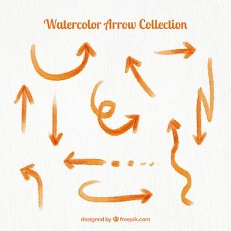 Watercolor orange arrows collection