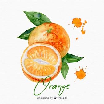水彩画のオレンジ色の背景