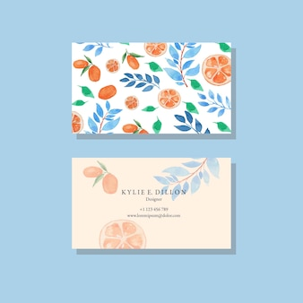 Watercolor orange and blue leaves simple bussiness card template