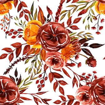 Watercolor orange, brown, yellow fall floral seamless pattern