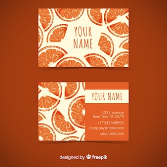 Watercolor orange business card template