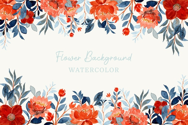 Watercolor orange flower and blue leaves background