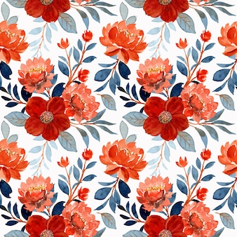 Watercolor orange flower and blue leaves seamless pattern