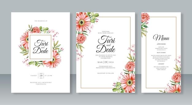 結婚式の招待カード セット テンプレートの水彩画のオレンジ色の花の絵