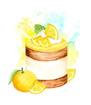 Акварель апельсиновый фруктовый торт